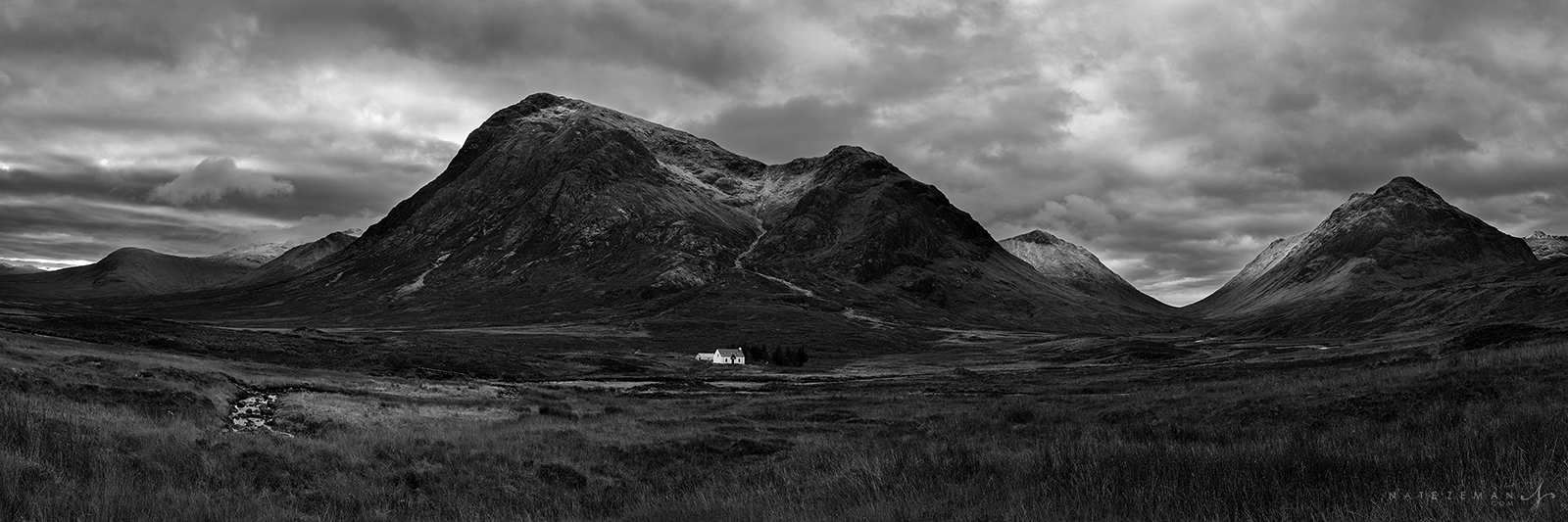 glencoe, scotland, highlands, black and white, , photo