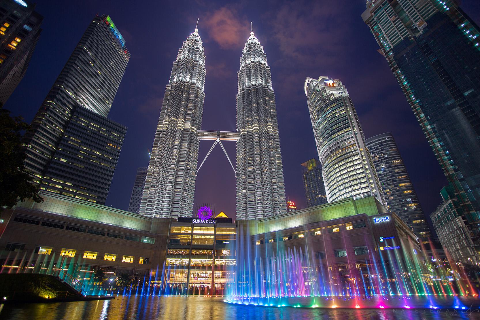 petronas towers, city lights, kuala lumpur, malaysia, skyscraper, sunset, water, twin towers, , photo