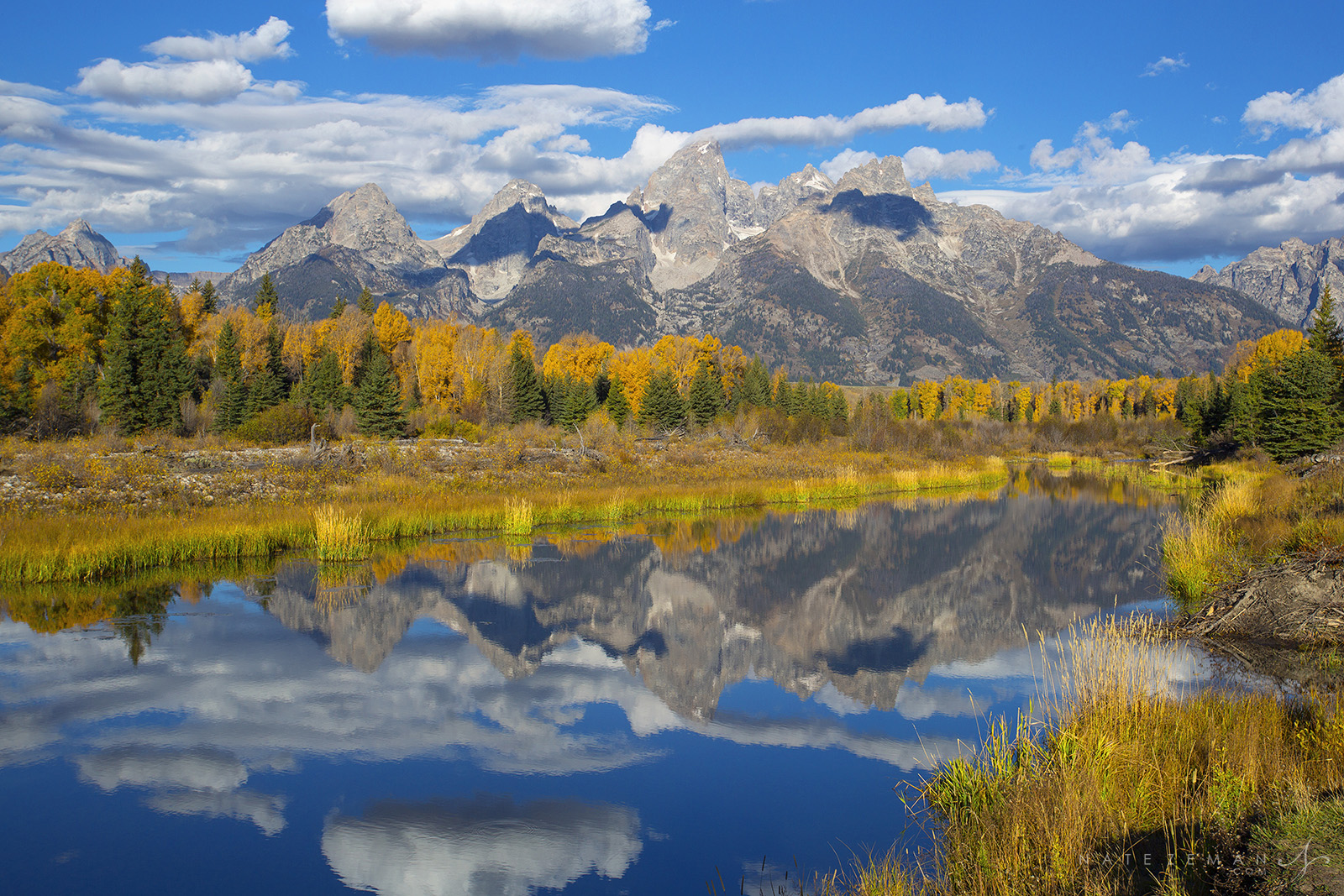 schwabachers landing, reflection, tetons, grand teton national park, snake river, autumn, fall, photo