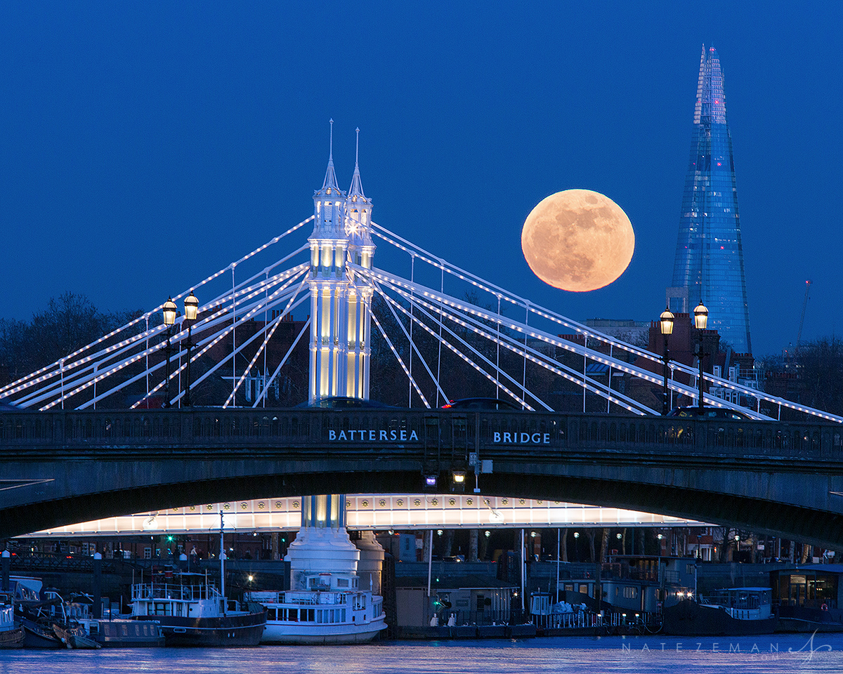chelsea, kensington, royal, bridge, albert bridge, battersea, battersea bridge, supermoon, moon, full moon, blue moon, shard, the shard, thames, , photo