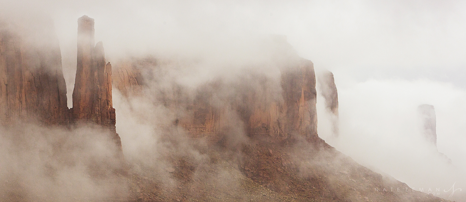 monument valley, fog, Arizona, sandstone, storm, rain, , photo