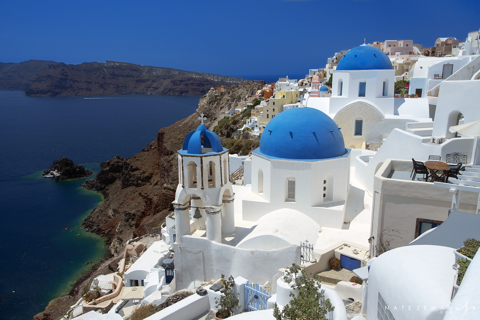 Santorini, greece, blue domes, dome, church, blue, sky, aegean, , photo