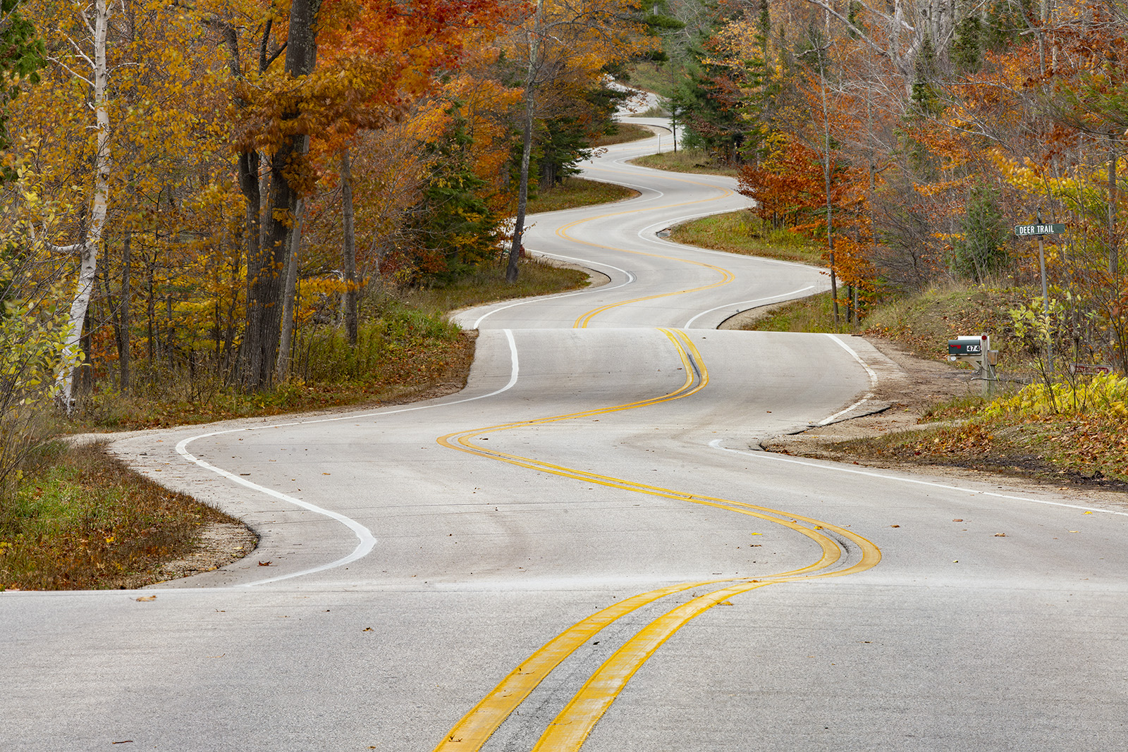 An unnecessarily curvy road is accentuated by colorful autumn foliage. There are a couple theories as to why this stretch of...
