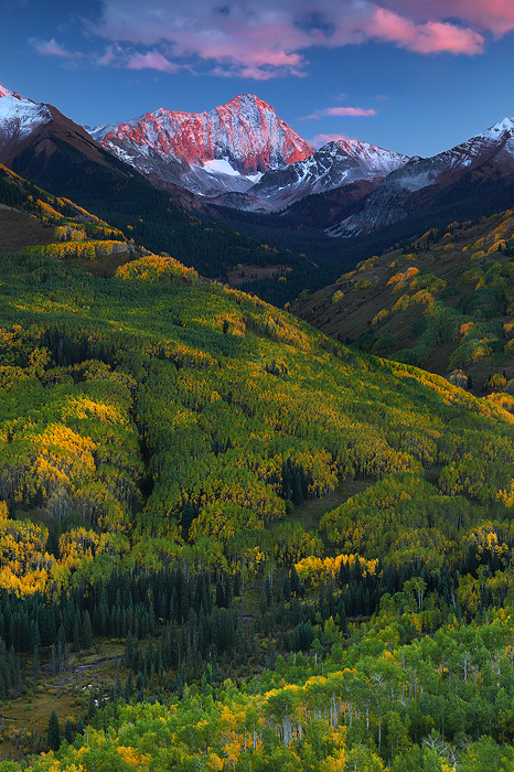 capitol peak, aspen, aspens, white river national forest, colorado, CO, fall, autumn, sunset, snow, trees, landscape, ph, photo