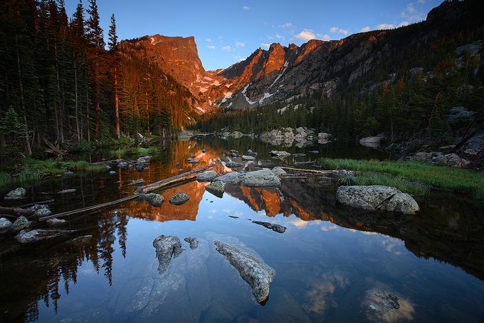 dream lake, sunrise, dream, lake, reflection, reflections, rocky mountain national park, colorado, lake, , photo
