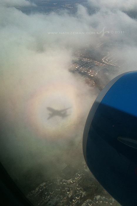 """On our descent into Atlanta I witnessed an optical phenomenon known as a """"brocken spectre"""" which is essentially a seemingly..."""