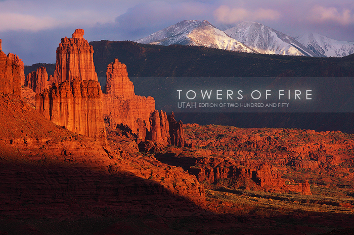 <p><em>The Fisher Towers, just outside of Moab, Utah are ablaze with the low warm light of sunset. Further in the...