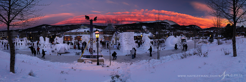 snow sculptures, panorama, river walk center, breckenridge, colorado, baldy mountain, sunset, photo