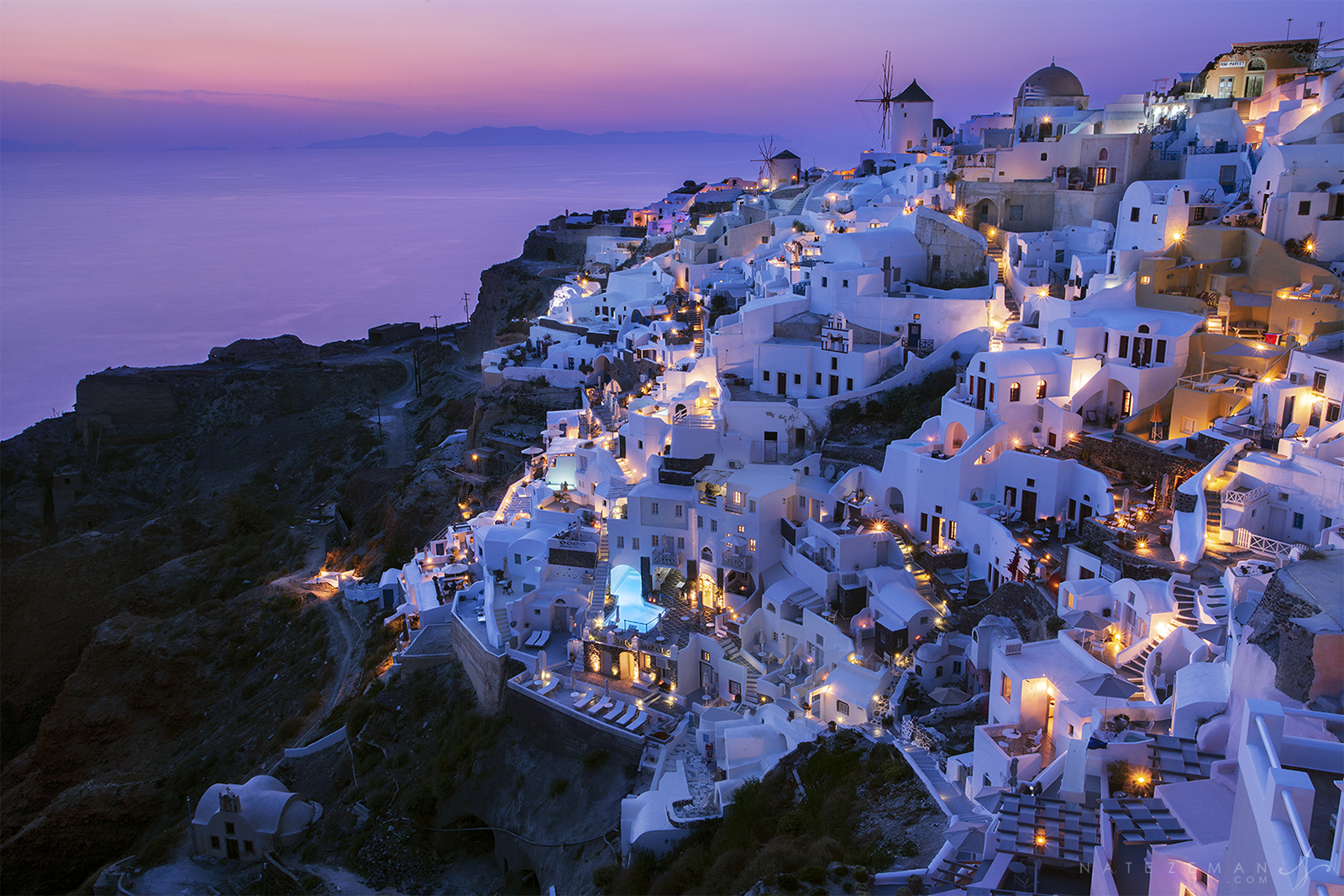 Santorini, greece, sunset, twilight, purple, pink, oia, Greece, cliff, photo